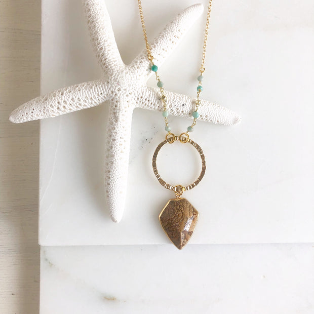 Long Jasper Necklace with Amazonite Beading. Long Earthy Bohemian Necklace