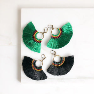 Fan Tassel Earrings. Fall Colors. Green or Black Tassel Earrings. Chandelier Earrings. Tassel Dangle Earrings. Statement Earrings. Jewelry