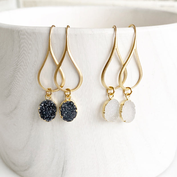 Druzy Drop Earrings in Gold. Black White Crystal Gemstone Drop Earrings. Gold Dangle Earrings
