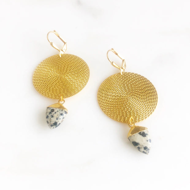 Gold Statement Earrings with Gold Disks and Dalmation Jasper Shield Pendants