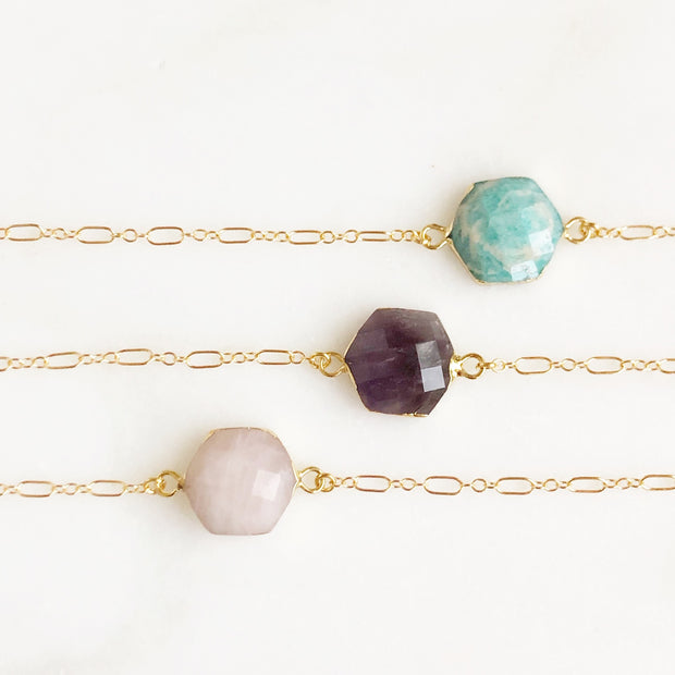 Gemstone Hexagon Gold Bracelets. Amazonite Rose Quartz and Amethyst Stone Bracelets. Geode Bracelet.