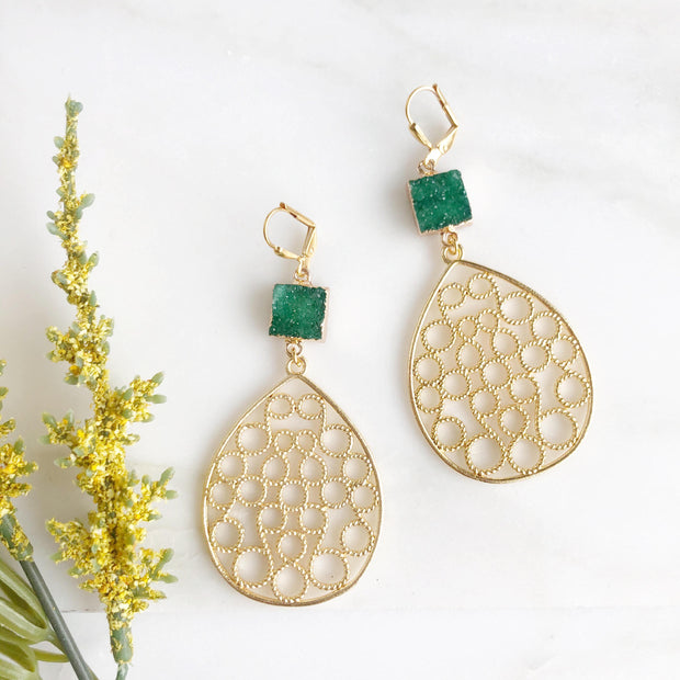 Gold Teardrop Statement Earrings with Green Druzy Stones