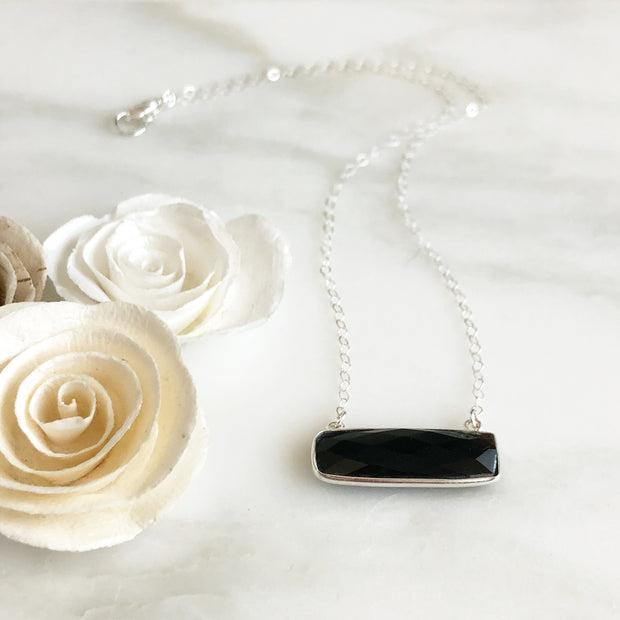 Black Onyx Bar Necklace in Sterling Silver. Black Stone in Silver. Sterling Silver Bar Necklace.