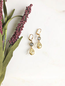 Charcoal and Yellow Bridesmaid Earrings in Gold. Bridal Jewelry.