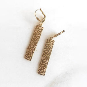 Small Gold Rectangle Earrings. Drop Earrings. Dangle.