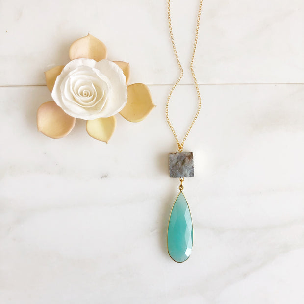 Long Pendant Necklace. Aqua Chalcedony and Druzy Pendant Necklace