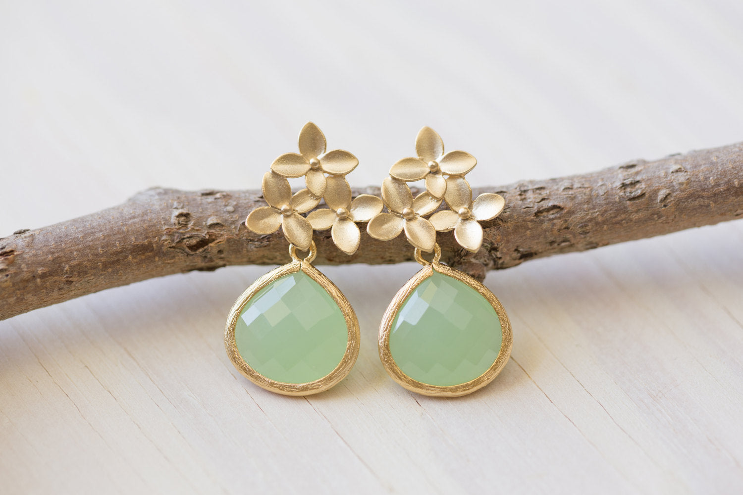 Mint Teardrop and Gold Cherry Blossom Flower Post Earrings. Mint Bridesmaid Earrings. Drop Earrings.