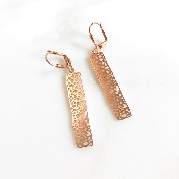 Small Rose Gold Rectangle Earrings. Dangle Drop Earrings. Geometric Simple Jewelry Gift for Her. Rose Gold Jewelry