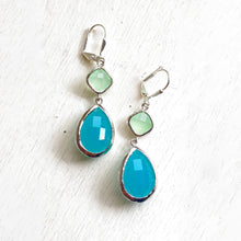 Load image into Gallery viewer, Large Turquoise Teardrop and Mint Diamond Dangle Bridesmaid Earrings in Silver. Glass Drop Earrings. Turquoise Dangle Earrings.