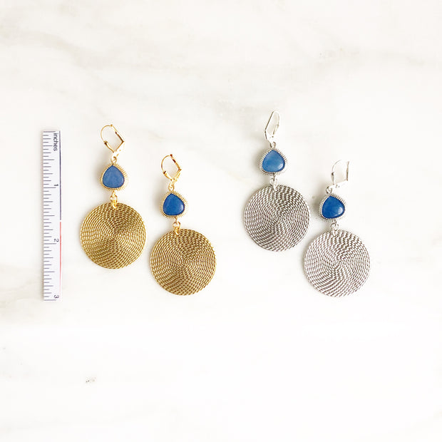 Statement Earrings with Blue Stones and Gold Cicrle Pendant. Silver or Gold
