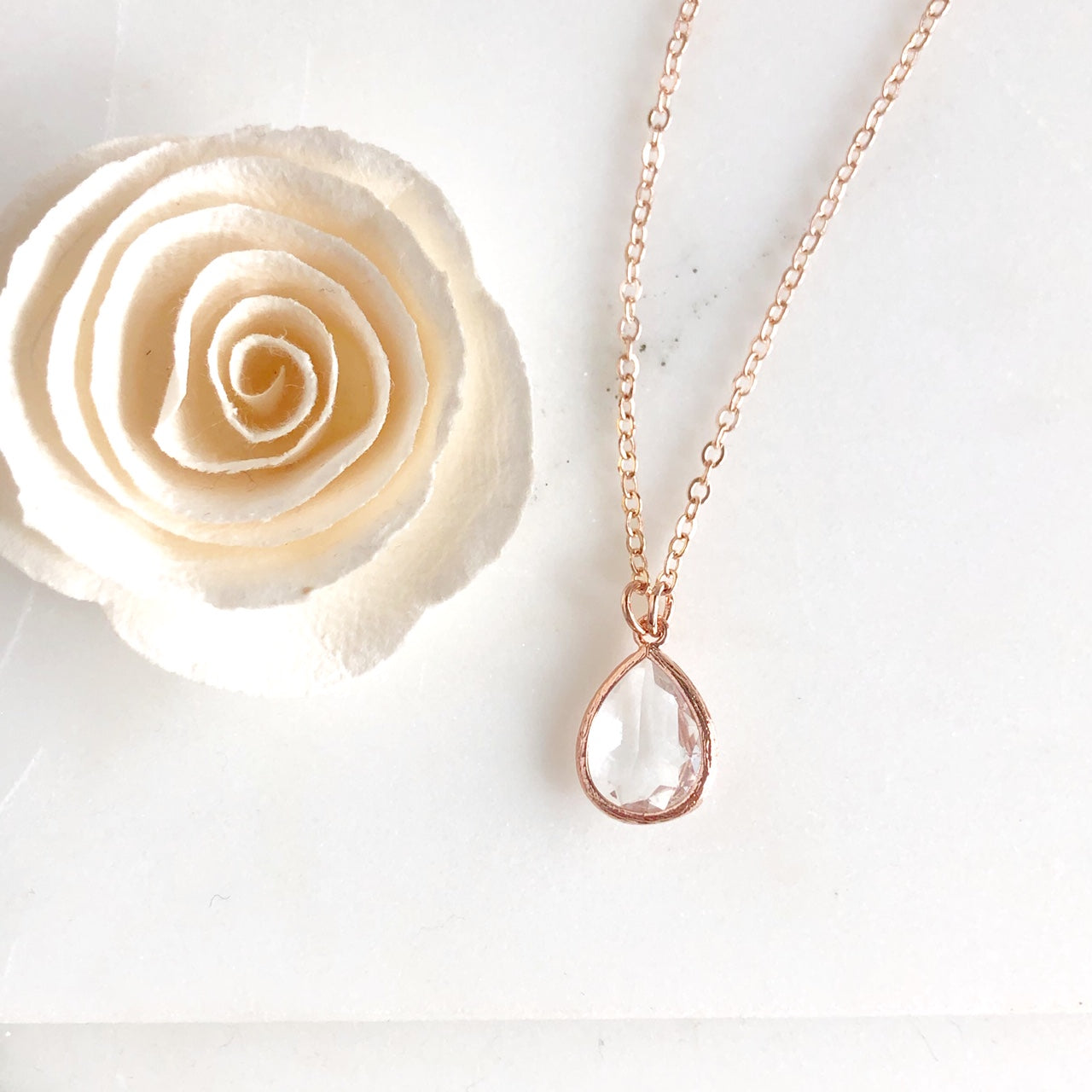 Rose Gold Clear Glass Teardrop Necklace. Bridal Jewelry. Bridesmaids Gifts.
