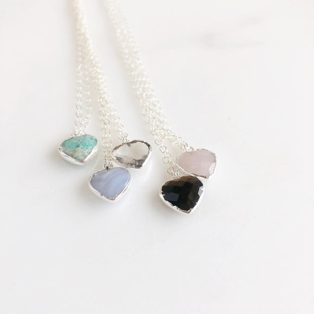 Sterling Silver Gemstone Heart Necklaces