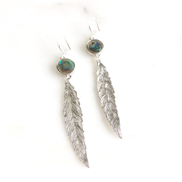 Long Dangle Earrings with Silver Feather and Abalone