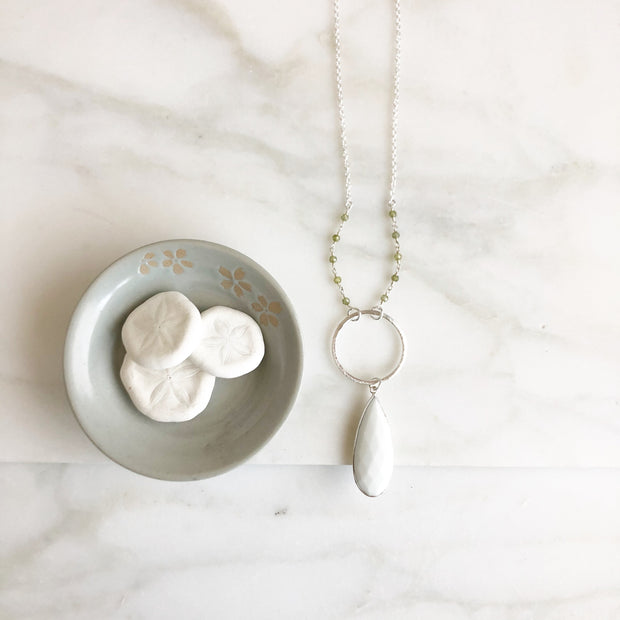 Long White Agate Necklace in Silver with Green Beading. Long White Stone Necklace