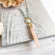 Long Gold Necklace. Pink Stone and Amazonite Beading Accents. Pink and Aqua Necklace. Boho Necklace.
