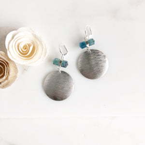 Silver Textured Disk and Rainbow Fluorite Statement Earrings.