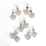 Colorful Dangle Earrings in Silver. Multiple Loop Drop Dangle Earrings