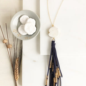 Boho Tassel Necklace. Navy Tassel Necklace and White Howlite. Long Necklace. Boho Style.