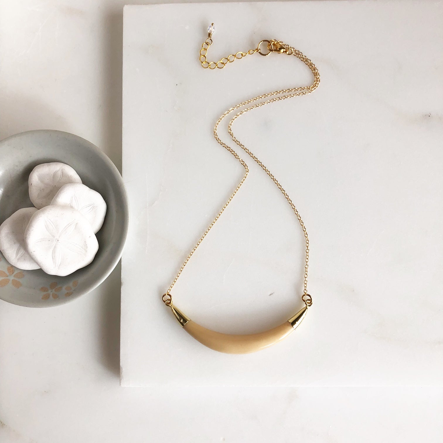 Crescent Necklace in Gold. Natural Ox Bone Horn Necklace.