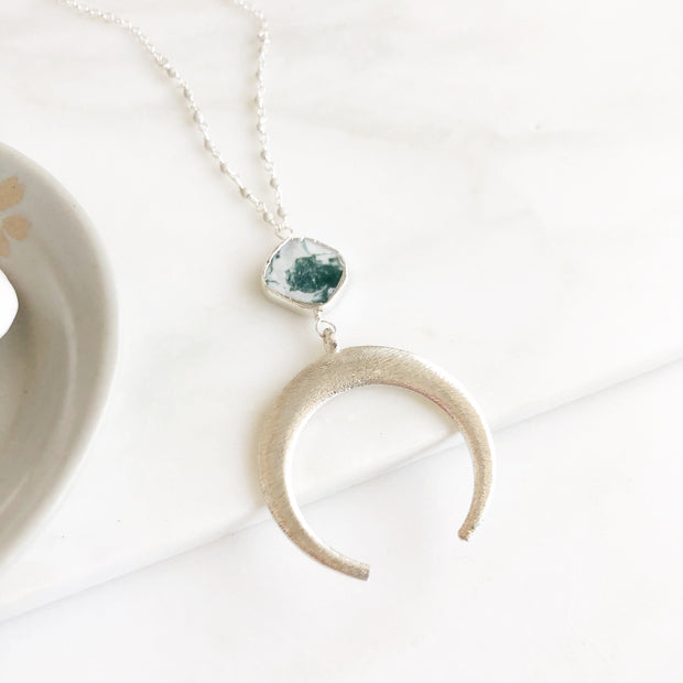Long Silver Crescent Necklace with Tree Agate Gemstone and beading in Sterling Silver