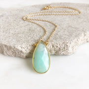 Austrailian Jade Teardrop Pendant Necklace in Gold
