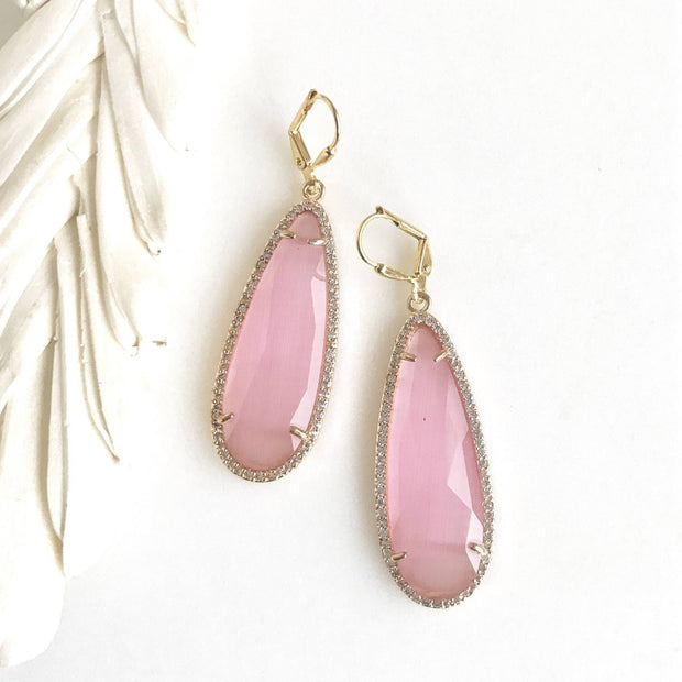 Gold Teardrop Statement Earrings. Colorful Dangle Earrings