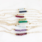 Birthstone Necklaces. Beaded Necklace. Beaded Bar Necklaces. Gemstone Necklaces. Birthstone Jewelry