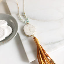 Load image into Gallery viewer, Boho Tassel Necklace. White and Mustard Tassel Necklace. Long Turquoise Slice Tassel Necklace. Amazonite Beads Boho Jewelry. Unique Gift.
