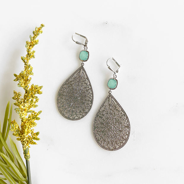Aqua Chandelier Earrings in Silver. Silver Statement Dangle Earrings