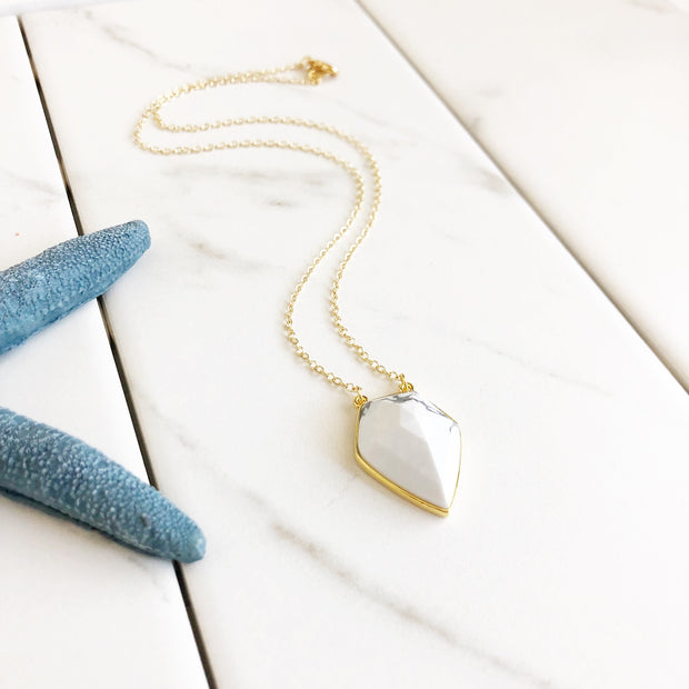 White Howlite Stone Shield Necklace. Pendant Necklace. Gold Necklace. Gift. Layering Necklace.