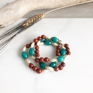 Set of Three Beaded Stretch Bracelets. Boho Beaded Bracelet. Teal Jade and Brown Goldstone Beaded Stacking Bracelet. Holiday Gift. Christmas