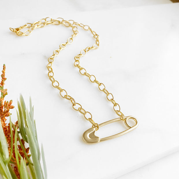 Chunky Gold Safety Pin Necklace. Solidarity Necklace. Jewelry for Charity