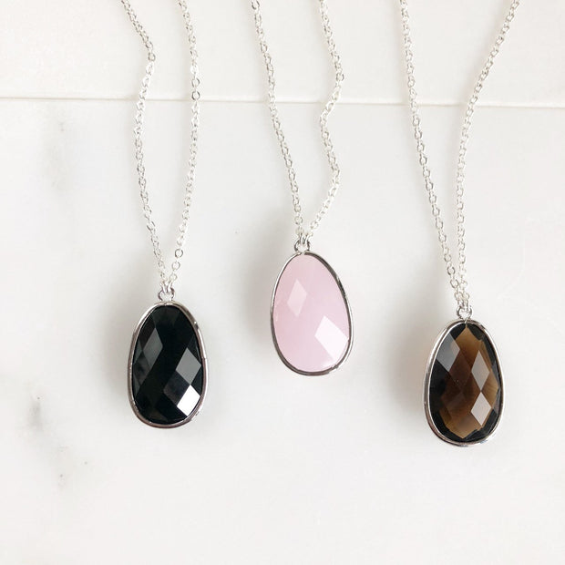 Stone Statement Necklace in Black, Pink, Smoky Quartz. Boho Necklace. Stone Statement Necklace. Long Jewel Necklace. Stone Necklace. Gift.