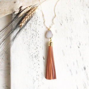 Tassel Necklace. Orange Tassel Necklace. Leather Tassel. Druzy Tassel Necklace. Beaded Tassel Necklace. Boho Jewelry. Fall Necklace. Gift.