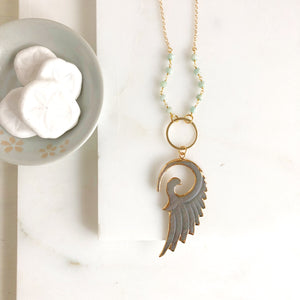 Long Shell Wing Necklace in Gold. Wing Necklace with Amazonite Beaded Chain. Long Necklace.