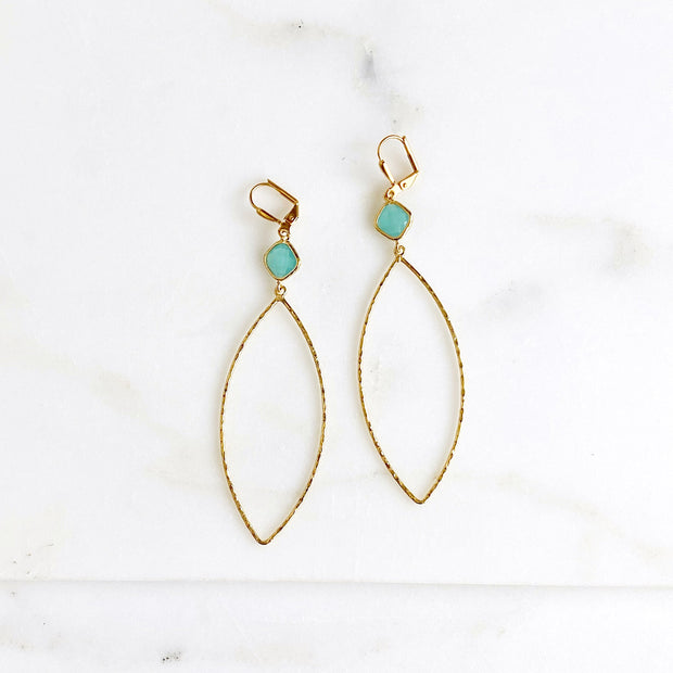 Large Marquis Statement Earrings with Turquoise Stones
