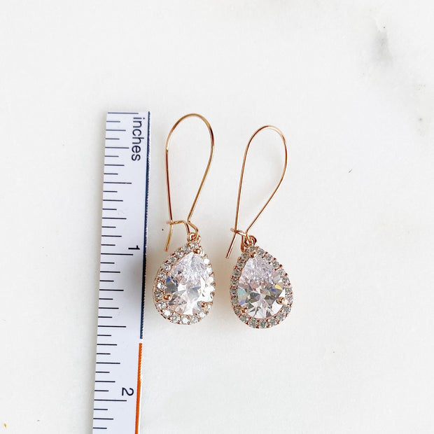 Simple Rose Gold Bridal Drop Earrings. Cubic Zirconia Drops. Elegant Dangle Earrings