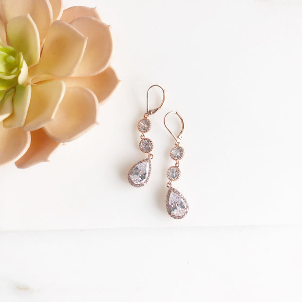 Rose Gold Long Drop Wedding Earrings. Bridal Earrings. Rose Gold Jewelry. Bridesmaids Gift.
