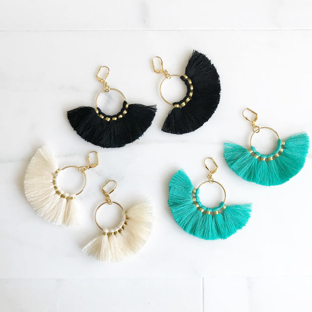 Fan Tassel Earrings. Black Ivory or Turquoise Tassel Earrings. Chandelier Earrings. Tassel Dangle Earrings. Statement Earrings. Jewelry.