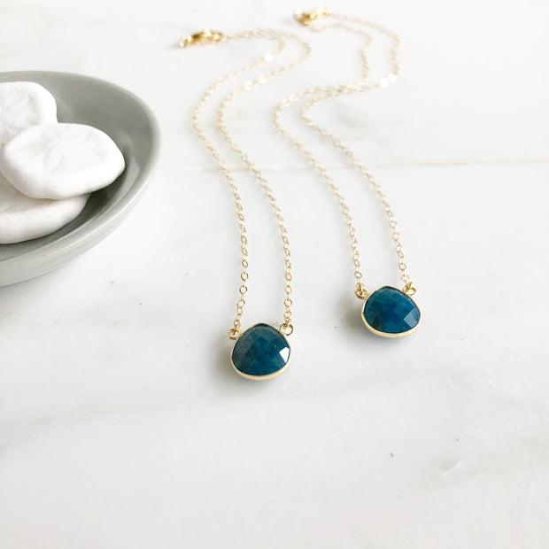 Apatite Water Drop Necklace in Gold. Simple Stone Necklace. Simple Jewelry Gift. Dainty Necklace.