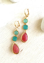 Load image into Gallery viewer, Coral Pink Turquoise and Aqua Dangle Earrings in Gold. Drop Earrings. Long Earrings. Bridal Party Jewelry. Bridesmaids Gift. Wedding Jewerly