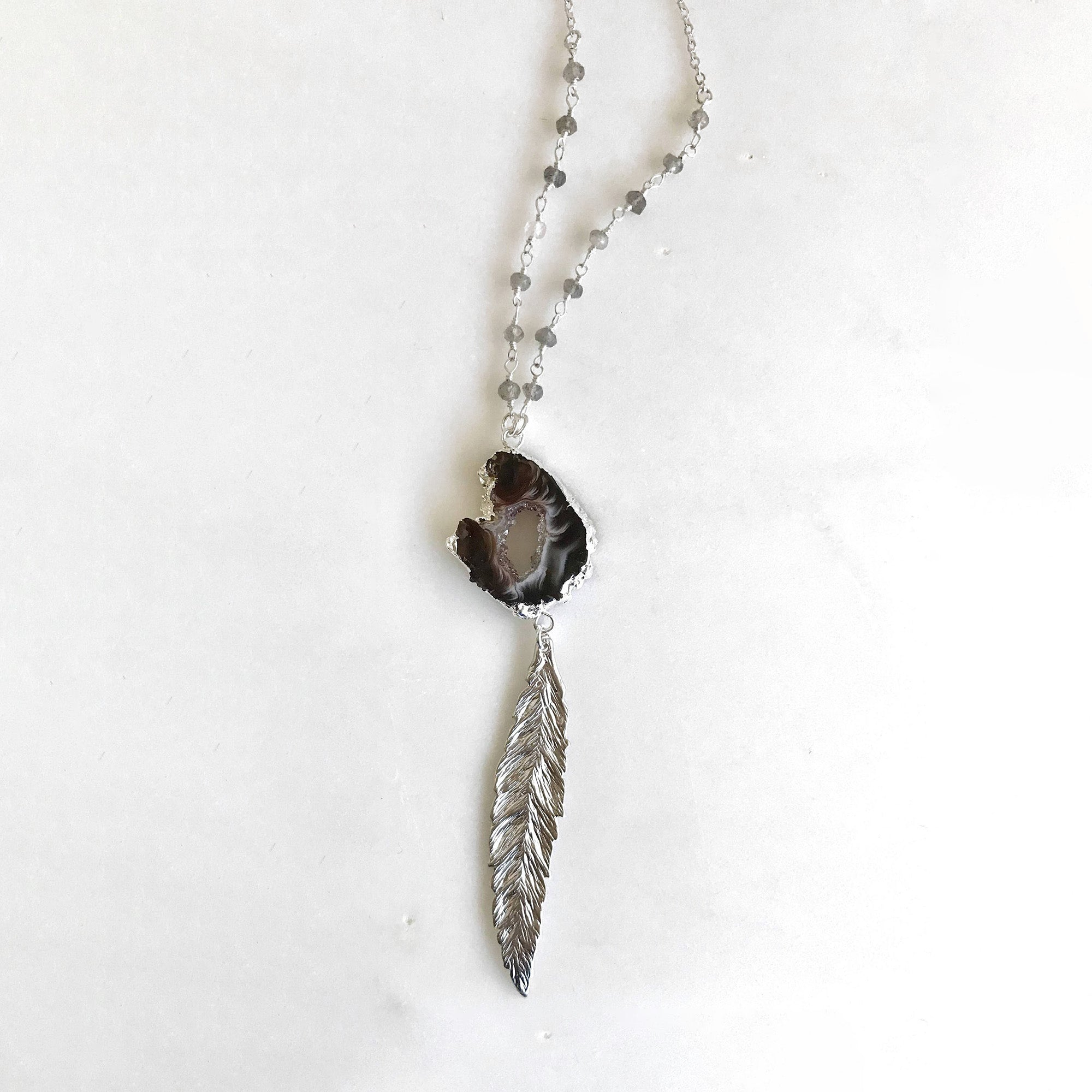 Long Silver Feather Necklace with Charcoal Druzy. Layering Necklace. Layered. Long Necklace. Feather Leaf Jewelry. Pendant Necklace. Gift.