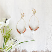 White Jade and Peach Moonstone Statement Earrings in Gold. Gold Teardrop Earrings