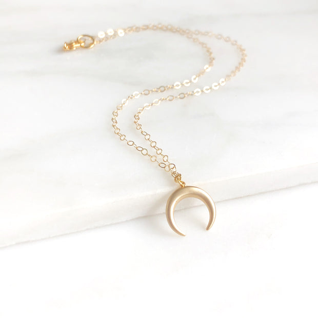 Simple Gold Crescent Necklace. Dainty Gold Layering Necklace