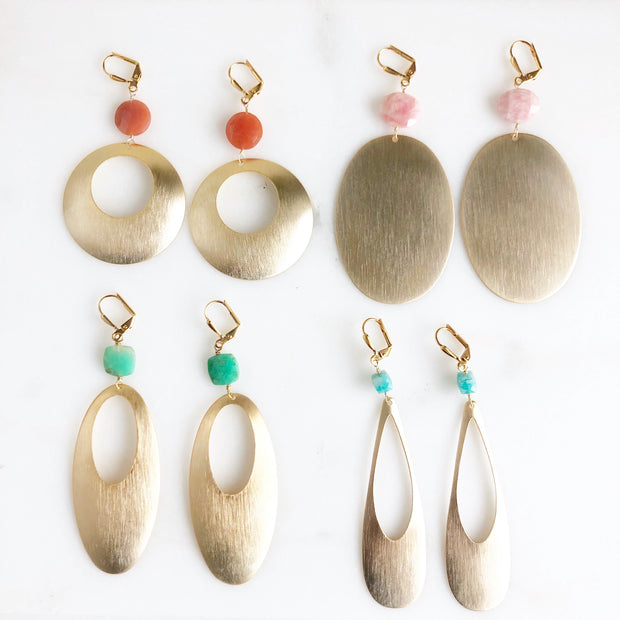 Brushed Gold Statement Earrings with Colorful Gemstones
