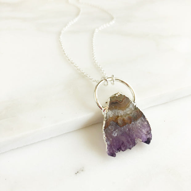 Unique Raw Amethyst Pendant Necklace with Silver Ring. Raw Stone Necklace