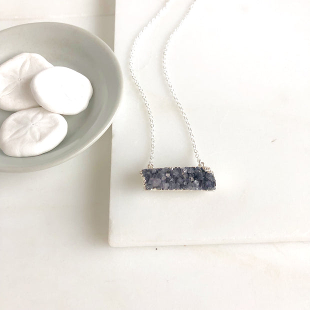 Purple Druzy Bar Necklace in Sterling Silver