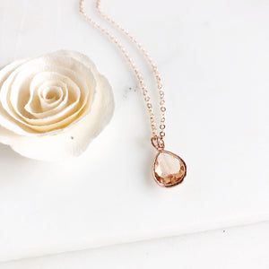 Rose Gold Champagne Glass Teardrop Necklace. Bridal Jewelry. Bridesmaids Gifts.