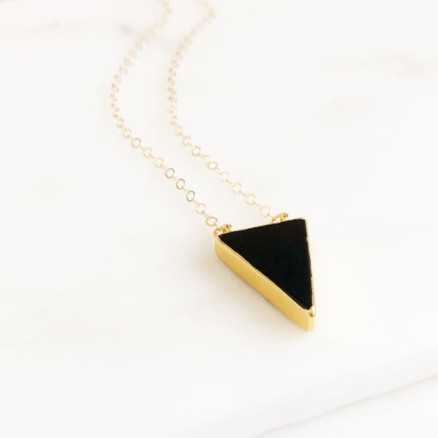 Black Triangle Necklace in Gold. Black Stone Necklace