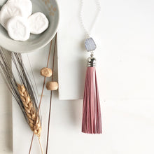 Load image into Gallery viewer, Grey Blue and Pink Leather Tassel Necklace. Long Sterling Silver Necklace. Periwinkle Stone.